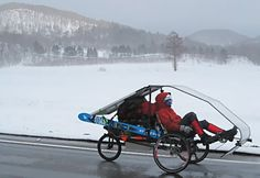 The Hauler - recumbent tricycle, which sports its own solar panel powering an onboard motor. The Hauler can carry a load of up to 300 pounds.