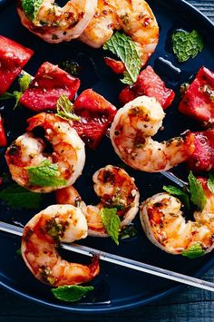 Grilling watermelon adds a smoky note to the fruit and gives it a slightly meaty texture that matches well with shrimp.#salmon #seafood #salmonrecipes #salmondishes Skewer Recipes, Shrimp Recipes Easy, Fish Recipes, Seafood Recipes, Fruit Recipes, Seafood Dinner, Fish And Seafood, Grilling Recipes, Cooking Recipes