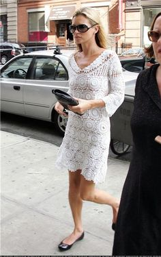 MADE TO ORDER  Crochet dress custom made, hand made, crochet -  cotton  Dress Kate Moss. $589.00, via Etsy.