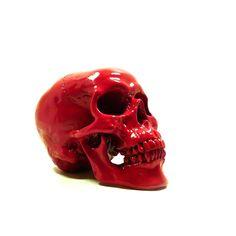 red skull head, day of the dead, skeleton head, goth, skulls, artsy home decor, skull figurine, hipster. $28.00, via Etsy.