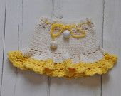 white and soft yellow crochet skirt