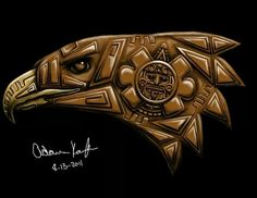 Aztec eagle design that I painted digitally Chicano Tattoos, Chicano Art, Body Art Tattoos, Aztec Drawing, Mexico Tattoo, Aztec Tattoo Designs, Aztec Designs, Motifs Aztèques, Aztec Symbols
