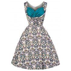 'Ophelia' Floral Festooned Crown Print 50's Inspired Swing Dress