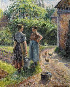 Camille Pissarro (1830-1903) Paysannes causant dans la Cour d'une Ferme, Éragny 1889-1902. Oil on canvas. 80 x 65,4 cm. Private collection.