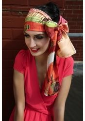 VERMILLION SCOTCH CHAOS PURE SILK SCARF 20CM X 195CM