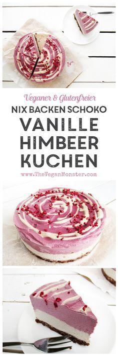 Vegan Glutenfrei Nix Backen Rohköstlicher Schokoladen Vanille Himbeer Kuchen Torte Rezept