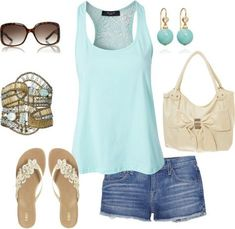"""aqua tank and jean shorts"" by missyalexandra on Polyvore"