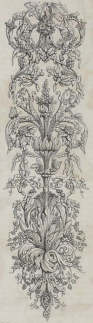 'Arabesque' wallpaper design, produced by William Woollams & Co in 1849.