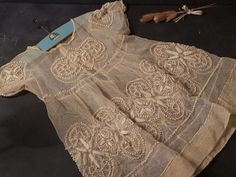 Antique 1900s French Baby Christening Lace Dress by CabArtVintage