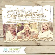 Modern Gold Confetti Graduation Announcement by lilsproutgreetings, $17.00