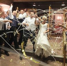 500 Hand Rolled Streamers - Wedding Exit - Layered Metallic with Finger Loop for lmckelvie