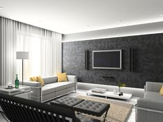 LR wall with TV put wallpaper or stencil it frame in white molding,mount TV and speakers