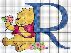 #Monograma Ursinho Pooh - letra R #bordado #CoatsCorrente