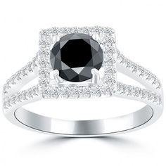 2.03 Carat Certified Natural Black Diamond Engagement Ring 14k White Gold - Thumbnail 1