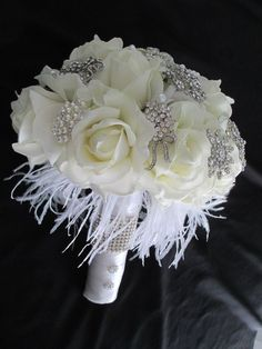 .....Rhinestone Brooch and Great Gatsby White and Cream Bridal ...