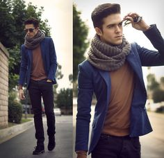 Zara blazer and scarf, and American Apparel sweater.