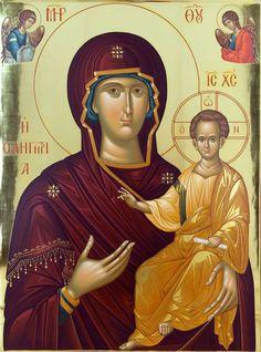 Παναγία Οδηγήτρια. Φορητή εικόνα διά χειρός Τηλέμαχου Τσουμπρή. / Theotokos Hodegetria. Portable icon painted by Tilemachos Tsoumpris.