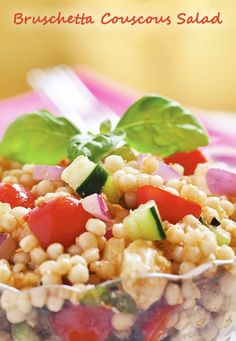 Brushetta Couscous Salad - get the recipe for this healthy salad that can be made gluten free using quinoa or wild rice - at This Mama Cooks! On a Diet