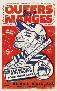 The Queers/The Manges Gig Poster Retro, Poster Prints, Gig Poster, Graphic Posters, Graphic Design Brochure, Kunst Poster, Concert Posters, Music Posters, Sketch Inspiration