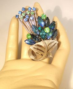 Vintage Brooch Large Lime Green An Blue Marquie by BagsnBling, $22.00