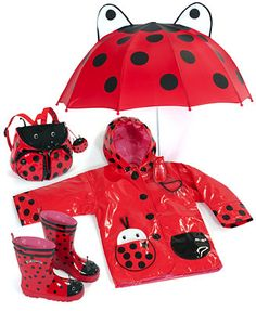 When it rains, it pours.but that's no excuse to waterproof your kids in boring slickers, not when Kidorable is here! This adorable hooded rain coat is printed with ladybug dots and features bug-shap Kids Girls, Little Girls, Baby Kids, Kids Boots, Rain Boots, Miraculous Ladybug Toys, Baby Doll Accessories, Fantasias Halloween, Rain Gear