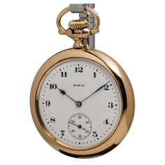 Elgin Yellow Gold Filled Open Face Pocket Watch circa 1920s | From a unique collection of vintage wrist watches at https://www.1stdibs.com/jewelry/watches/wrist-watches/