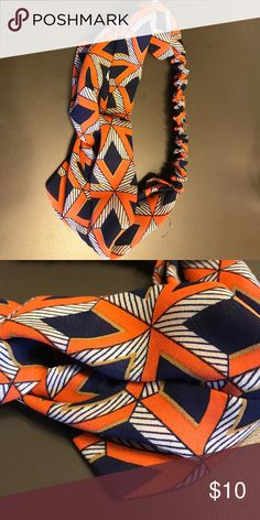 Headband (blue and orange) Lightly worn trendy turban-style headband Accessories Hair Accessories