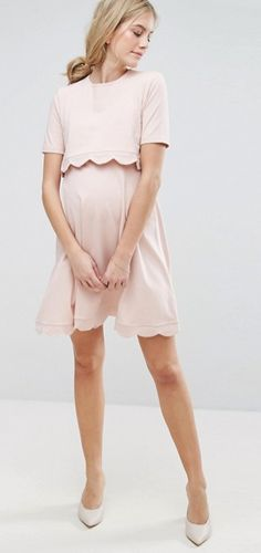 $48 | I love this beautiful maternity and nursing dress | ASOS Maternity  NURSING Scallop Dress with Short Sleeve | maternity fashion | maternity  dress ...