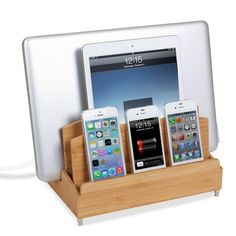 Bamboo Multi Device Charging Station And Cord Organizer For Smartphones,  Tablets And Laptops. Universal