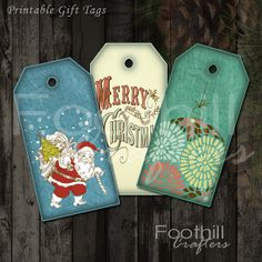 INSTANT DOWNLOAD -  12 Retro Christmas Gift Tags - 1.5 x 2 7/8 - Printable Digital Collage Sheet -  DIY Xmas Hang Tags - Santa - Ornaments #retrochristmas #retro_gift_tags #hangtags #labels #foothillcrafters #etsy #christmastags #holidaytags #santa #merrychristmas