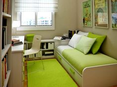 green bed room small minimalist