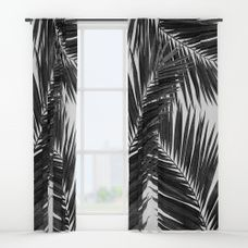 1a8f0ce81431 Palm Leaf Black   White III Window Curtains
