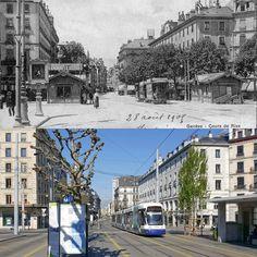 Cours de Rive Avant 1906 -> 2017 Ancienne carte postale : Comptoir de phototypie de Neuchâtel (C.P.N.) / Genève hier et aujourd'hui  #rive #genève #geneve #geneva #rephotography #citiesthenandnow Hui, Street View, Instagram Posts, Counter Top
