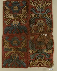 Tapestry Panel, 7th century. Peru, Rio Grande de Nasca. The Metropolitan Museum of Art, New York. Gift of George D. Pratt, 1932 (32.32.2) #tapestrytuesday