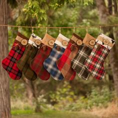 035e3044880 2019 Set of 3 Christmas Stockings Personalized Wood Slice Name Tag Redwood  Cone Rustic Woodland Christmas Plaid Flannel Christmas Stocking