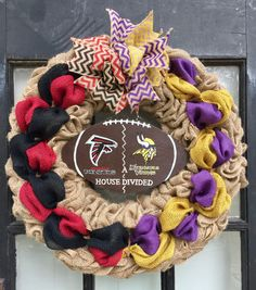A personal favorite from my Etsy shop https://www.etsy.com/listing/473137476/a-house-divided-football-wreath-atlanta