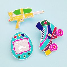 90s Toy Enamel Lapel Pin Badge Set | hand over your fairy cakes