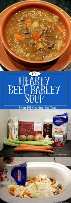 Hearty beef barley soup with chunks of tender beef with some veggies and barley. via 101 Cooking for Two Hearty beef barley soup with chunks of tender beef with some veggies and barley. via 101 Cooking for Two Crock Pot Soup, Slow Cooker Soup, Slow Cooker Recipes, Cooking Recipes, Healthy Recipes, Healthy Soups, Cheap Recipes, Crockpot Beef Barley Soup, Vegetable Beef Barley Soup