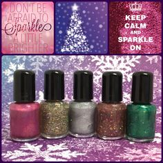 Holiday Collection, a 5 mini bottle set by My World Sparkles Lacquers - Handmade 5-Free Indie nail polish 2-Full size 1/2 oz - pinned by pin4etsy.com