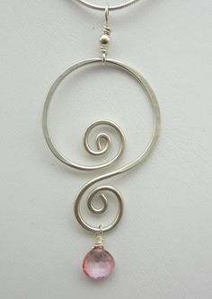 Silver Double Spiral and Pink Quartz Wire Wrapped Pendant. $25.00, via Etsy.