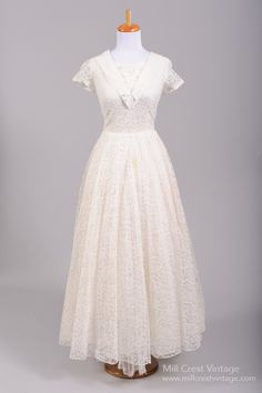 1950 Nautical Lace Vintage Wedding Gown