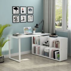 This L-Shaped Computer Desk offers a spacious work surface to meet your working needs without compromising style while the 6 storage units to keep the room neat and organized. The side top offers additional space for your option. Desk In Living Room, Bedroom Desk, Bedroom Computer Desk, Home Office Design, Home Office Decor, Office Ideas, Desk Ideas, Office Designs, Home Office Bedroom