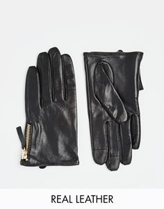 Enlarge ASOS Leather Gloves With Zip And Touch Screen Detail