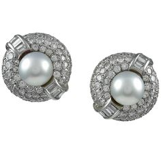 Cultured Pearl Diamond Platinum Button Earclips | From a unique collection of vintage clip-on earrings at https://www.1stdibs.com/jewelry/earrings/clip-on-earrings/