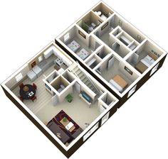 3 bedroom | 1.75 bath | 1130 sq ft  This is a great floor plan! Bedroom Apartment, Townhouse, Bedroom Furniture, Floor Plans, Bath, Flooring, How To Plan, Home, Bathing