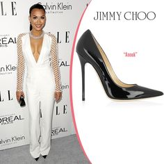 Naya Rivera in Jimmy Choo Anouk black patent leather pump #celebrity #shoes #style