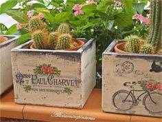 wooden boxes and crates Decoupage Box, Decoupage Vintage, Wood Crates, Wooden Boxes, Vasos Vintage, Foto Transfer, Bois Diy, Flower Pots, Flowers