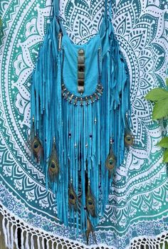 wOw Handmade Turquoise Leather Fringe Large Bag Boho Hippie Festival Purse B.Joy | eBay