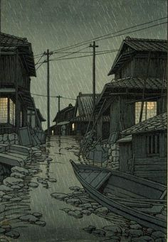 Hasui Kawase - Evening Rain in Kawarago