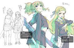 Schoolgirls (!) Link & Zelda by @ebiebieshrimp | #BOTW
